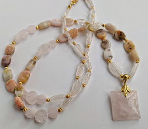 Natural gemstone beaded necklace: rose quartz, pink opals, gold accents