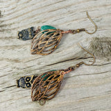 Owls in the Forest green aventurine earrings