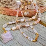 Pink Perfection Necklace Set: Rose Quartz & Natural Pink Opals