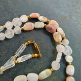 Rose Quartz Pink Opal Beaded Necklace Set
