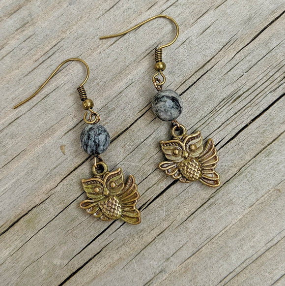 Spiderweb Jasper Owl Dangle Earrings