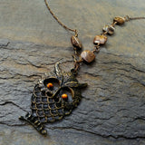 Tigers Eye and Bronzite Brass Owl Pendant
