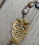 Tigers Eye and Bronzite Brass Owl Pendant back (stamped brass one sided)