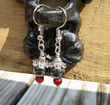 Hematite & Red Glass Gothic Silver Floral Dangle Earrings