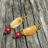 Upcycled Golden Orange Gemstone & Berry Red Statement Earrings