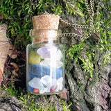 Rainbow Chakra Gemstones Corked Glass Bottle Pendant Necklace