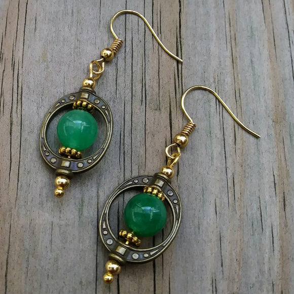Steampunk Hoop Green Stone Dangle Earrings
