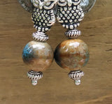 Earthy Brown & Blue Ceramic w Stylized Silver Owls Dangle Earrings