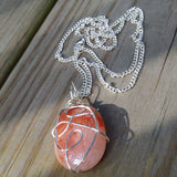 Crazy Wire Wrapped Upcycled Large Pink Gemstone Pendant