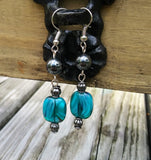 Swirling Blue Glass & Hematite Dangle Earrings
