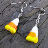 Whimsical Glass Candy Corn Halloween Dangle Earrings