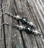 Hematite & Silver Stacked Statement Earrings
