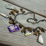 Upcycled Natural Shell & Tigers Eye Purple Assemblage Necklace Set w Earrings