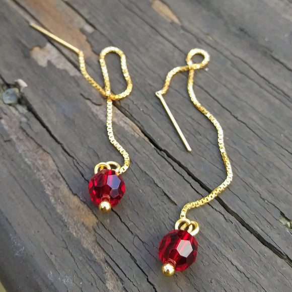 Red Austrian Crystal Threader Earrings - 14K Gold Filled Threads