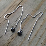 Tiny Hematite Threader Earrings - 4 inch 0.925 Sterling Silver Threads