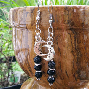 Black & Silver Man in the Moon Celestial Earrings