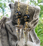 Large Austrian Crystal Spike & Black Skull Gold Statement Earrings