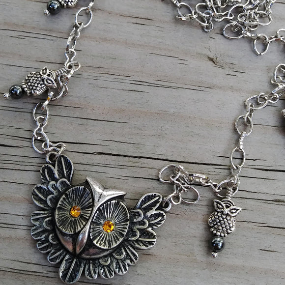 Upcycled Silver Owl Assemblage Necklace w Hematite Accents