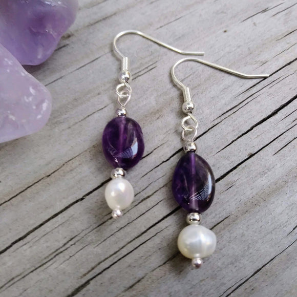 Deep Purple Amethyst & Pearl Earrings on Silver