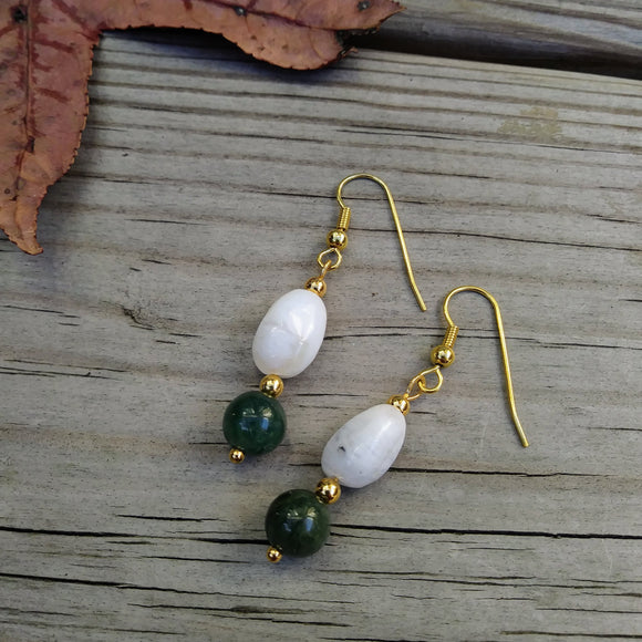 Peruvian Opal & Dark Green Nephrite Jade Gold Dangle Earrings