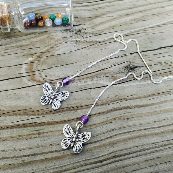 Butterfly Charm Threader Earrings with Chakra Gemstone Set - 4 inch 0.925 Sterling Silver Threads