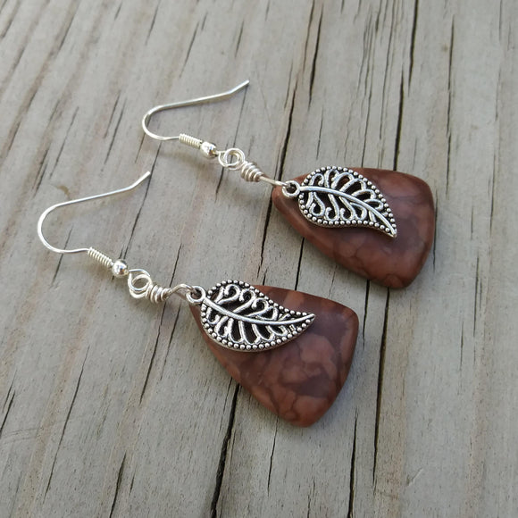 Brown Zebra Stone Silver Leaf Statement Earrings for Fall