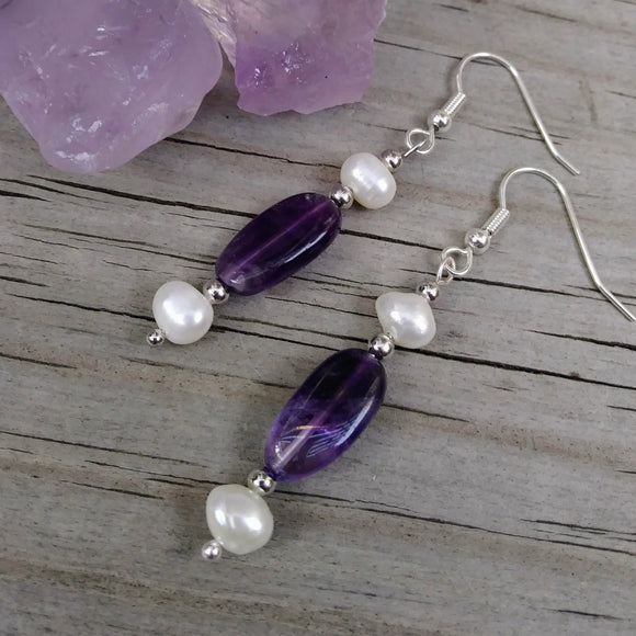 Deep Purple Amethyst & Double Pearl Silver Dangle Earrings