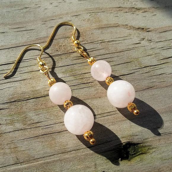 Double Rose Quartz Stacked Gold Dangle Earrings