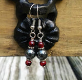 Hematite & Red Glass Silver Dangle Earrings