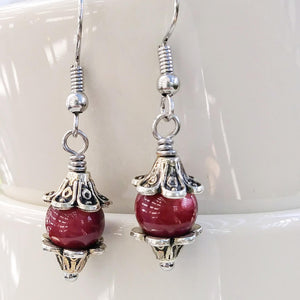 Berry Pink & Silver Floral Dangle Earrings
