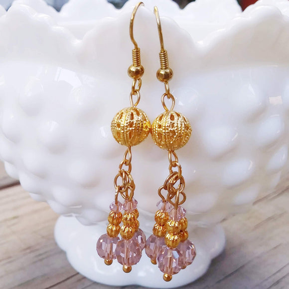 Romantic Light Pink Austrian Crystal Cluster Earrings w Edwardian Gold Filigree