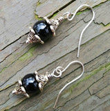 Black Onyx & Silver Floral Dangle Earrings