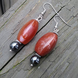 Upcycled Red-Orange Gemstone & Hematite Statement Earrings