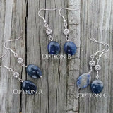 Cobalt Blue Earrings Flower Dumortierite Stone Silver Statement Earrings
