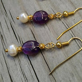 Deep Purple Amethyst & Pearl Gold Dangle Earrings