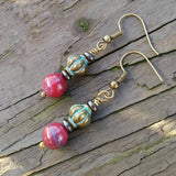 Berry Pink & Patina Brass Dangle Earrings w Hematite Accents