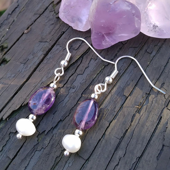 Deep Purple Amethyst & Pearl Silver Dangle Earrings