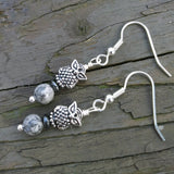Gray Crazy Lace Agate Silver Owl Dangle Earrings
