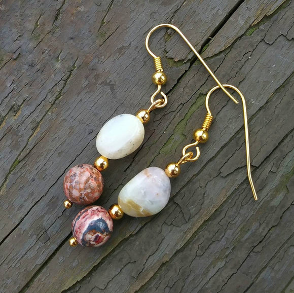 White Peruvian Opal & Leopard Skin Jasper 22K Gold Earrings
