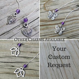 Lotus Charm Threader Earrings with Chakra Gemstone Set - 4 inch 0.925 Sterling Silver Threads
