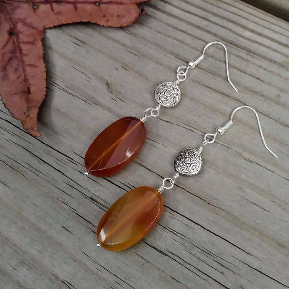 Upcycled Faceted Amber-Colored Gemstone & Patterned Silver Statement Earrings