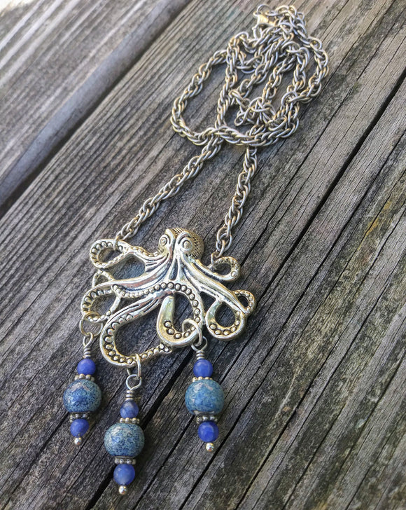 Ocean Blue Silver Kraken Octopus Necklace on Thick Silver Rope Chain