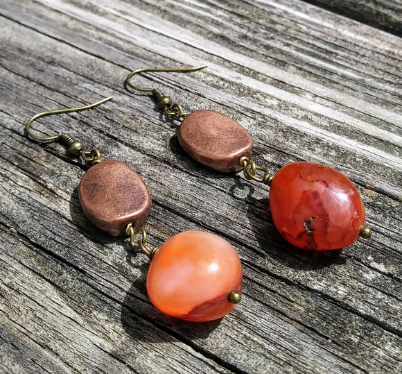 Upcycled Burnt Orange Agate & Copper Statement Earrings