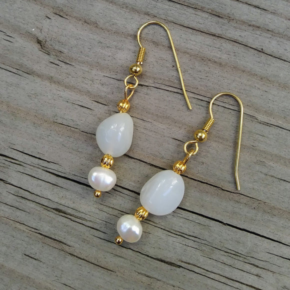 Peruvian White Opal Gold Dangle Earrings w Pearl