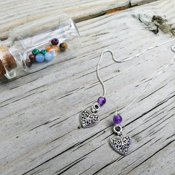 Heart Charm Threader Earrings with Chakra Gemstone Set - 4 inch 0.925 Sterling Silver Threads