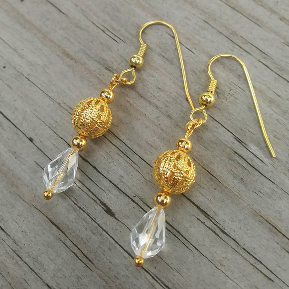 Clear White Austrian Crystal Dangle Earrings w Edwardian Gold Filigree