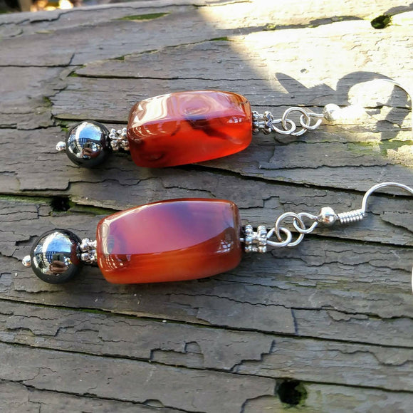 Upcycled Burnt Orange Gemstone & Hematite Statement Earrings