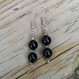 Double Black Onyx Stacked Silver Dangle Earrings