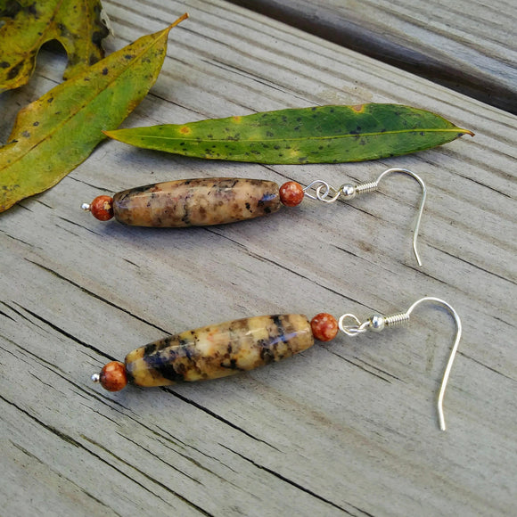 Autumn Spikes Burnt Orange & Brown Stone Dangle Earrings