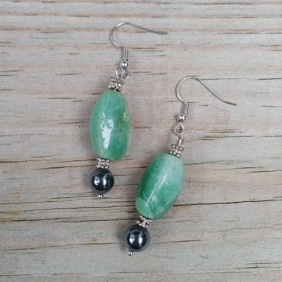 Upcycled Mint Green Gemstone & Hematite Statement Earrings